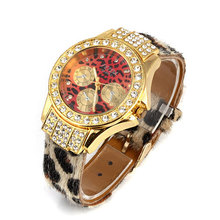 2016   Fashion ladies watch, leopard grain band, gold and silver set auger dial,