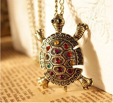 2015 New Fashion Dress Pendant Chain Necklace Colorful And Lovely LittleTortoise Necklaces Pendants Jewelry Wholesale N116