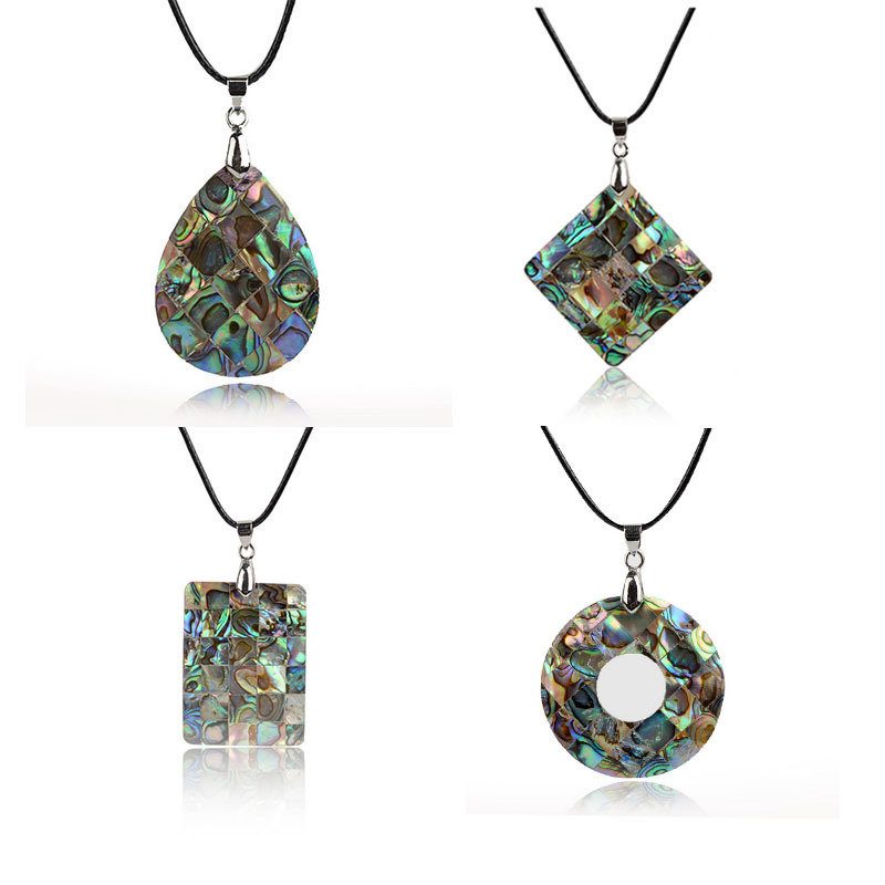 Fashion Jewelry Mixed Natural Green New Zealand Abalone Shell Pendant Waterdrop 1Pc Long Pendant Leather Necklace For Women 2015(China (Mainland))