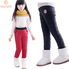 2015 NEW girls winter windproof pants children's warm plus velvet & down trousers thicken design retail, C203