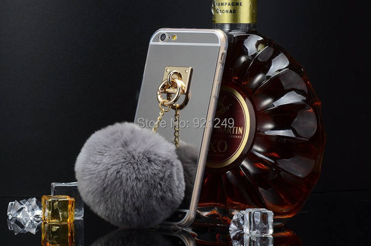50P/lot DHL For iphone 6 6s 4.7 6 Plus 5.5 Case Cove Hot sale cute Rex Rabbit Hair Bulb TPU+Aluminum Plating Mirror Cover Case(China (Mainland))