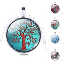 white life tree chain necklace women necklace glass cabochon necklace pendant necklace art picture silver jewelry