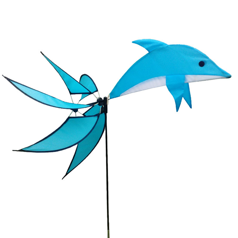 Outdoor Camping Toy Windmill Dolphin Shape Blue Windmill For Garden Decoration Kids Playing(China (Mainland))