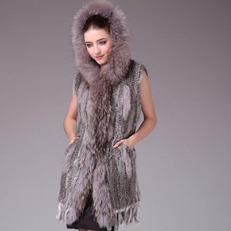 Vtrt0253 2012 fur rabbit fur knitted medium-long vest rabbit fur raccoon fur vest