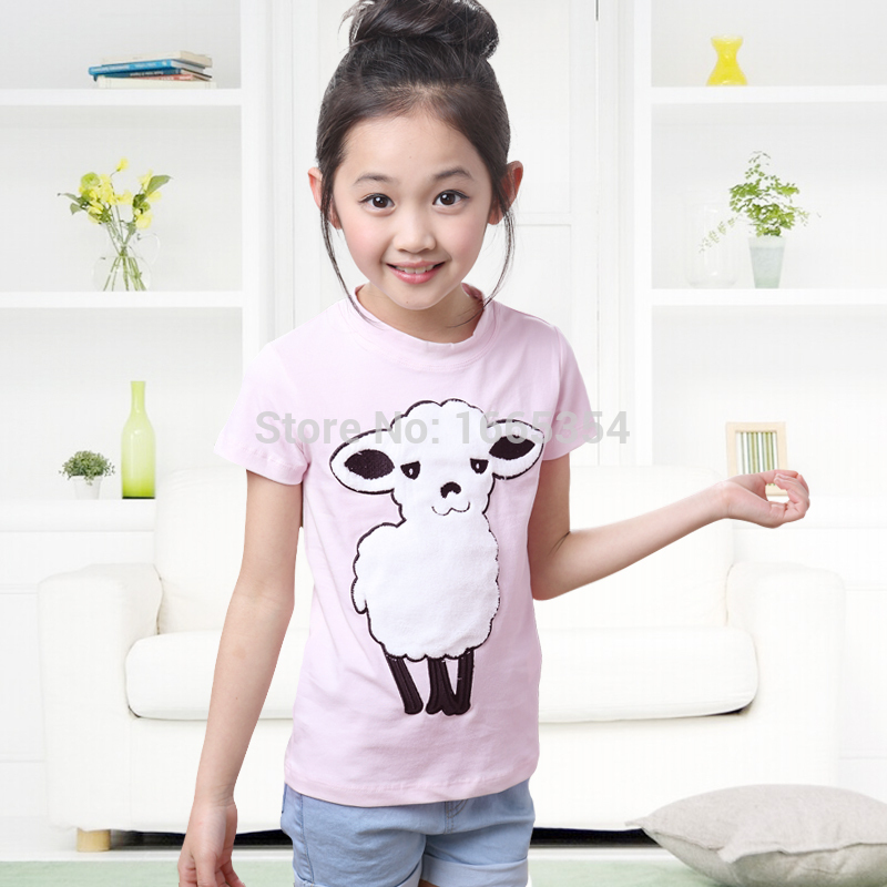 4-14 Years Kids Girls Tee Childrens Cute Cartoon Sheep Short Sleeve Tops T-Shirts