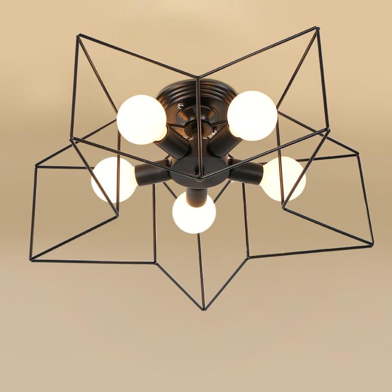 Фотография Black  Industrial Vintage Ceiling Lights For Living Room Bedroom Home Lighting E27 Iron Ceiling Lamp Fixtures