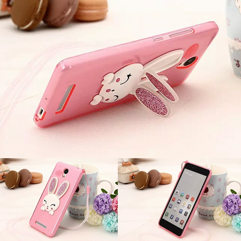 2016 New Cute TPU Silicon Rabbit Stand Holder Soft Case Cover Skin for Xiaomi Redmi Note
