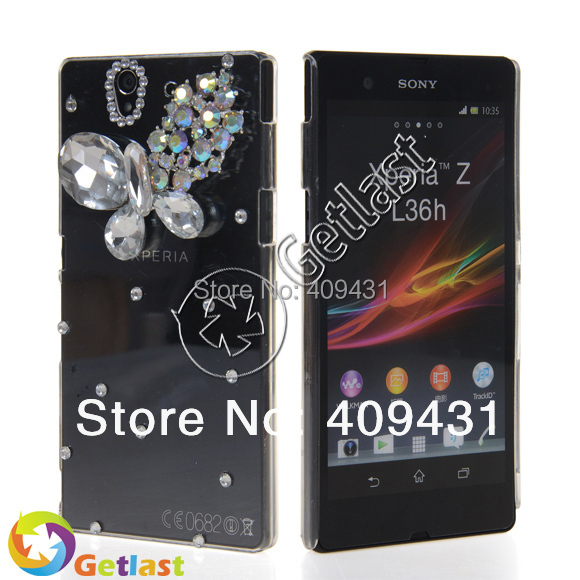 GETLAST FREE SHIPPIING HARD BLING RHINESTONE CRYSTAL CASE COVER original smart phone new in 2014 FOR SONY XPERIA Z L36H(China (Mainland))