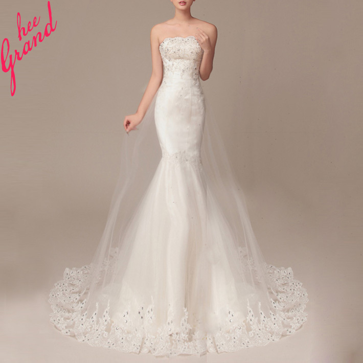 Vestido De Noiva 2015 Elegant Mermaid Wedding Dress Romantic Custom Made Strapless Lace-Up Brush Train Embroidery Dresses WAL053(China (Mainland))