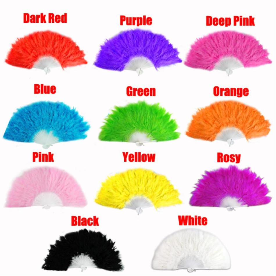 Sale 11 colors Handmade Chinese Japanese Folding Marabou Feather Hand Fan Many Colors Clothes Wedding Decor(China (Mainland))