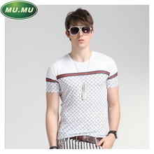 Fashion Men's T-Shirts Luxury Brand Cool Ice Silk Casual Plaid Short-sleeved T Shirt Big Name Splicing Tee Shirt Homme Luxe