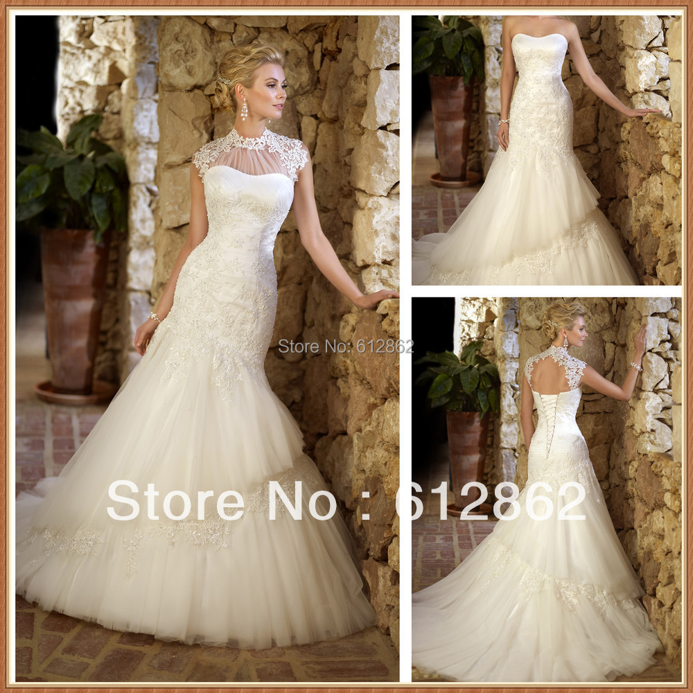 Mermaid Wedding Gowns With Long Trains : Mermaid and tulle beaded lace long train wedding dress piece