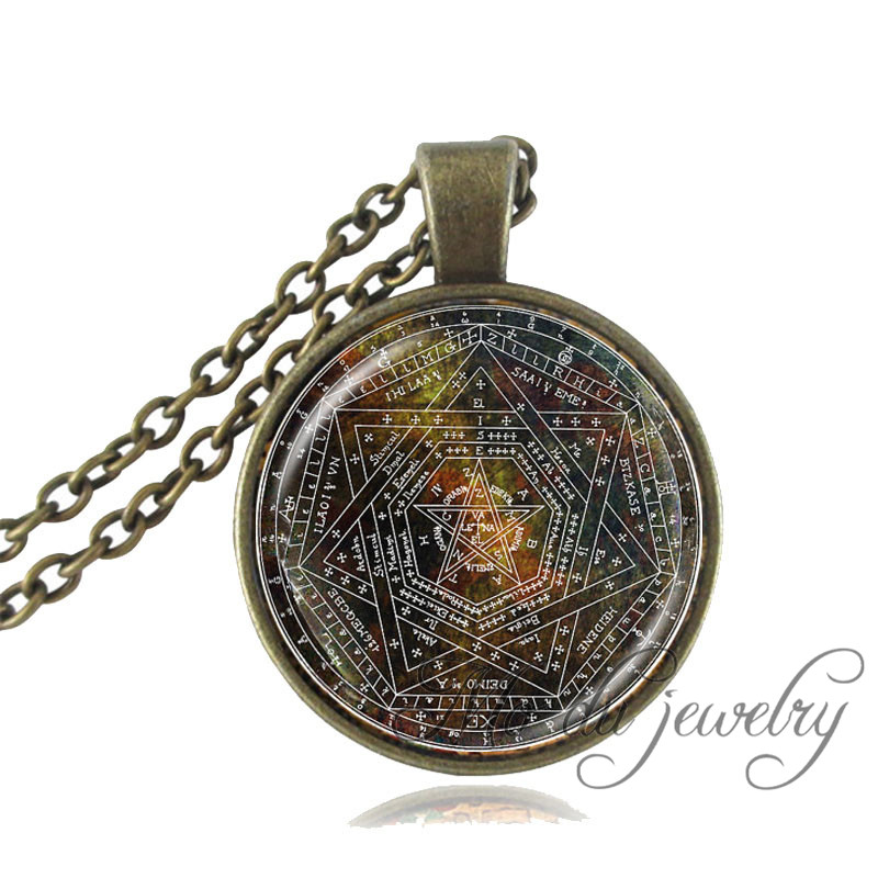Sigil of Ameth Pendant,Vintage Pentagram Necklace Sacred Geometry Jewelry Glass Dome Pentacle Necklace Occult Wiccan Necklace<br><br>Aliexpress