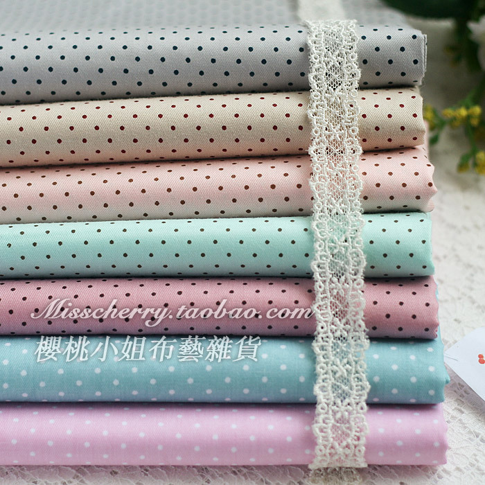 Bz166 blue meters ash - fresh 7 polka dot fabric - slanting 100% stripe cotton cloth - cherry(China (Mainland))