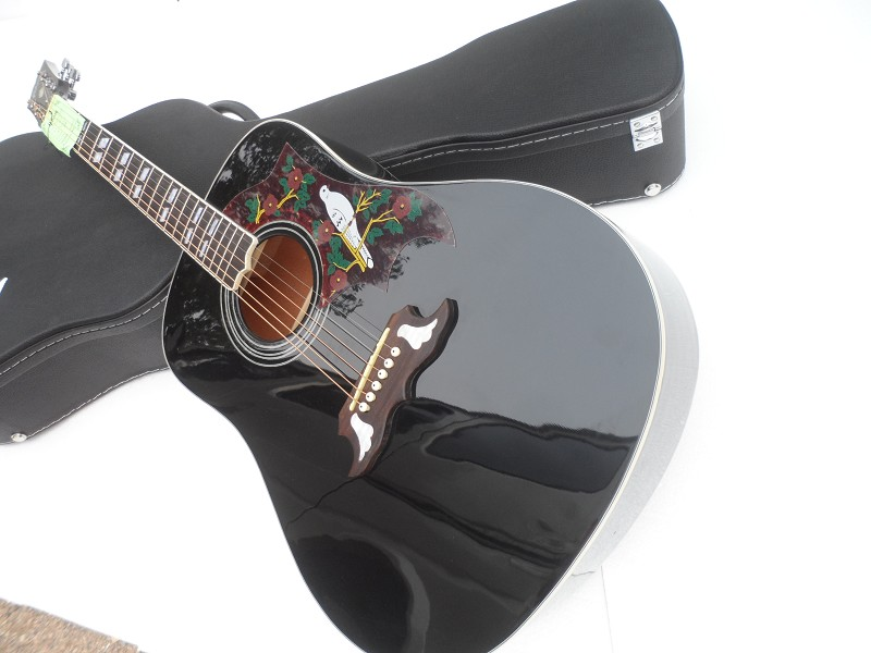 Top Quality Factory Custom Black Dove Spurce Top 6 String Acoustic ( Electric ) Guitar Can be Installed Fishman 101/301 Pickup(China (Mainland))