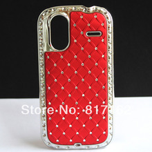 LUXURY RED CHROME Plated Rhinestone Diamond BLING HARD PLASTIC MASK SKIN COVER CASE FOR HTC Amaze 4G G22 Free Shipping(China (Mainland))