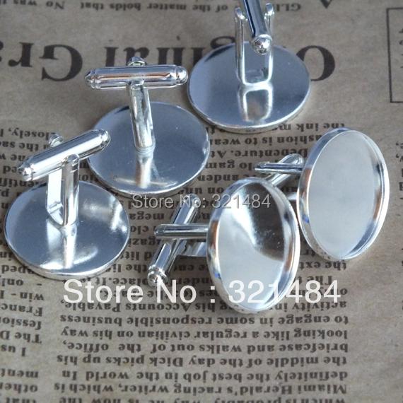 silver plated 200X 16mm cabochon setting cufflinks bezel blank base tray findings