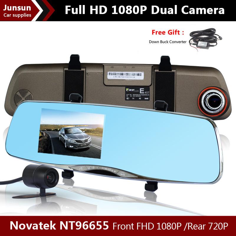 "4.5"" LCD Full HD 1080P Car dvrs Parking Video Camera Recorder Rear View Rearview Mirror With Car DVR Dual Camera Novatek NT96655(China (Mainland))"