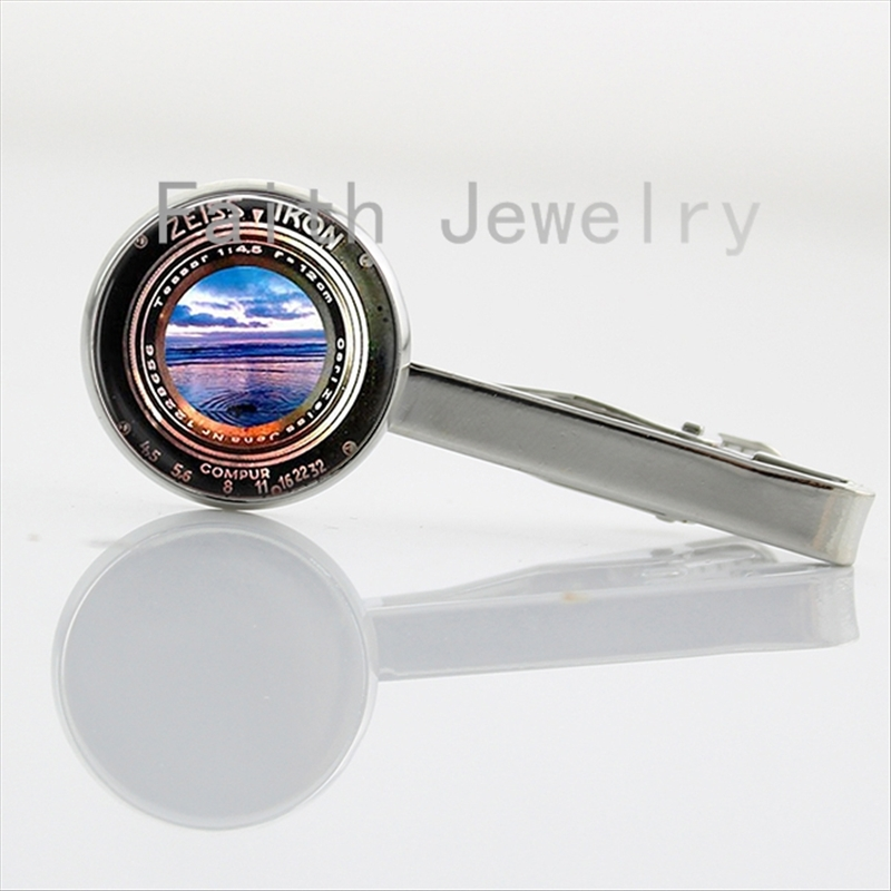Vintage Black Old Camera Lens picture tie clips Photographer Silver Plated men Jewelry Gifts Glass Cabochon tie bar NS054(China (Mainland))