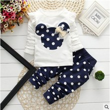 Buy 2017 new Spring Autumn children girls clothing sets minnie mouse clothes bow tops t shirt leggings pants baby kids 2 pcs suit for $8.99 in AliExpress store