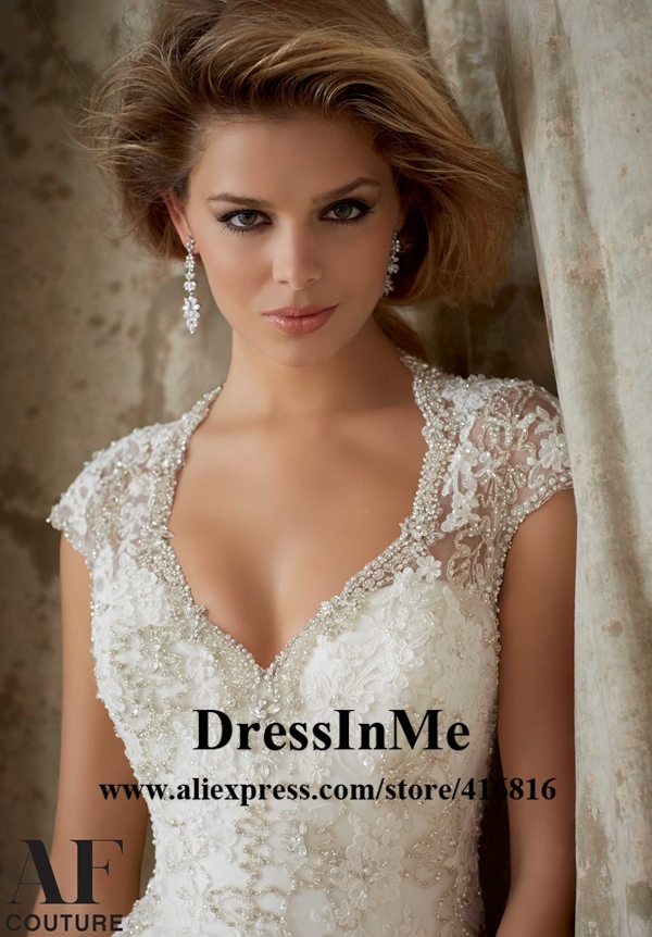 Fit And Flare Bling Wedding Dress Flare a Line Wedding Dress