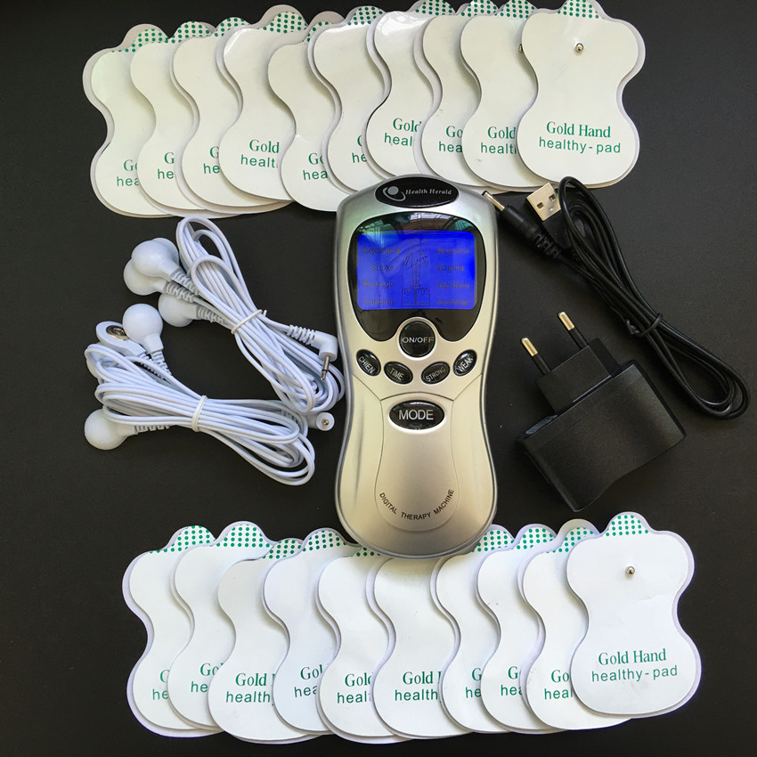 Whole English Key Silver Dual input Slimming massager,Digital therapy massager machine ,TENS body massager +20pcs electrode pads()