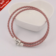 100% 925 sterling silver clip clasp charms Genuine leather necklace pink fashion necklaces 35-57cm women jewelry valentine's day(China (Mainland))