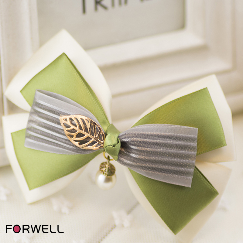 Hot sale hair accessories for women green and white bow gray stripe hairpins alloy pearl pendant bow spring clip jewelry(China (Mainland))