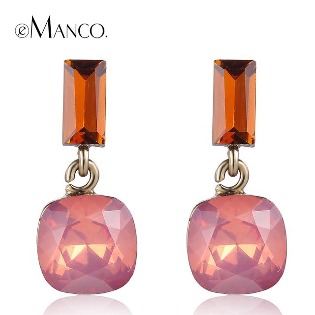 Pink opal crystal earrings for women 2015 cute girl crystal geometric small drop earrings boucles d'oreille women eManco ER50593