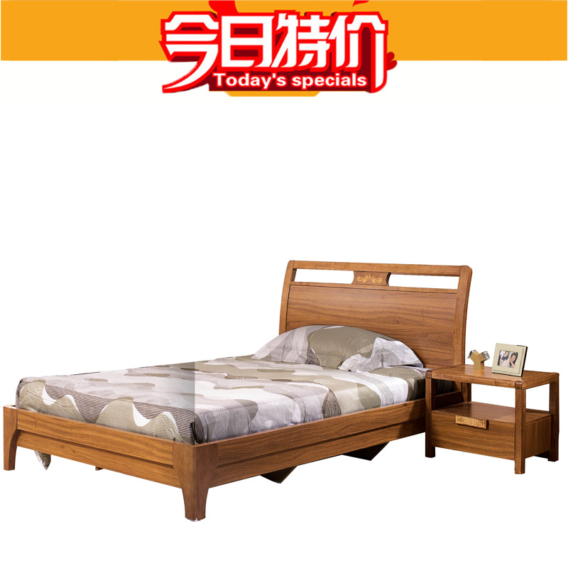 Wood bed 12 m for boys and girls beds for young children walnut color wood bedroom furniture bed 6115(China (Mainland))