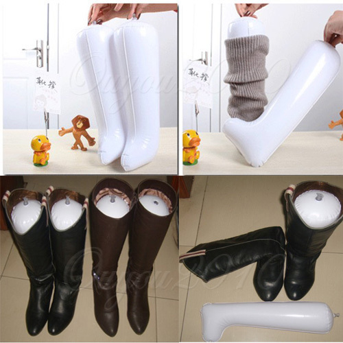 10 pcs/lot Inflatable Useful Long Boot Shoe Trees Stand Holder Stretcher Support Shaper Plastic Free Shipping Wholesale(China (Mainland))