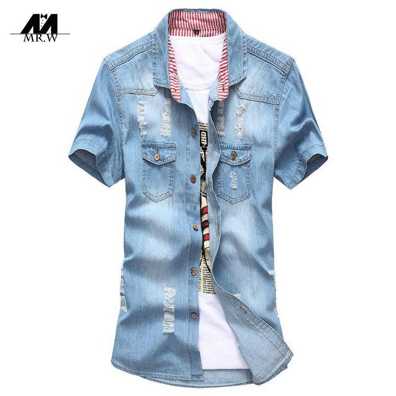 2015 New Brand Denim Shirts Fashion Casual Mens Shirts