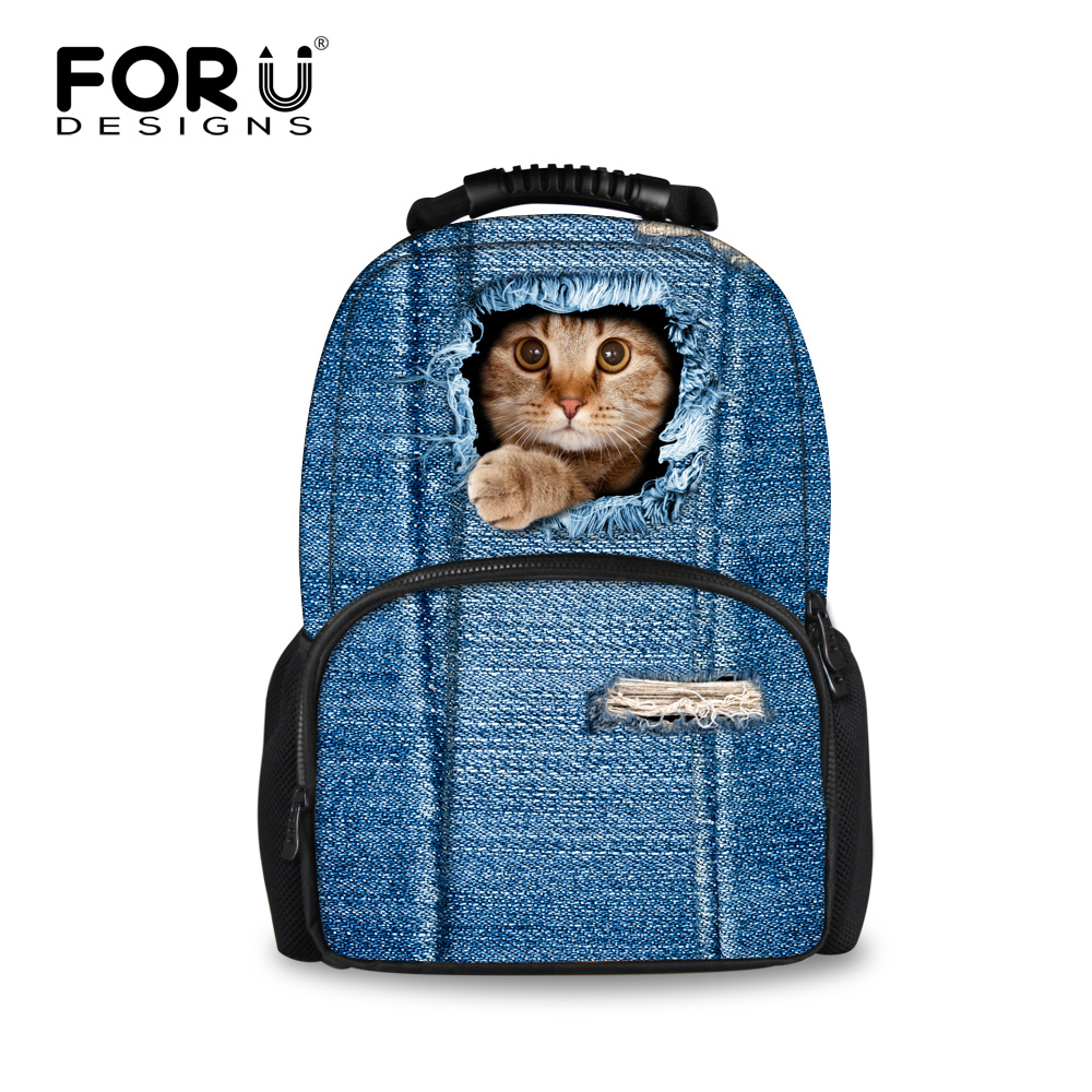 2016 Women Backpacks 3D Animal Jeans Kitty Cat Backpacks School Bagpack For Teenager Girls Ladies Travel Laptop Backpack Bags(China (Mainland))