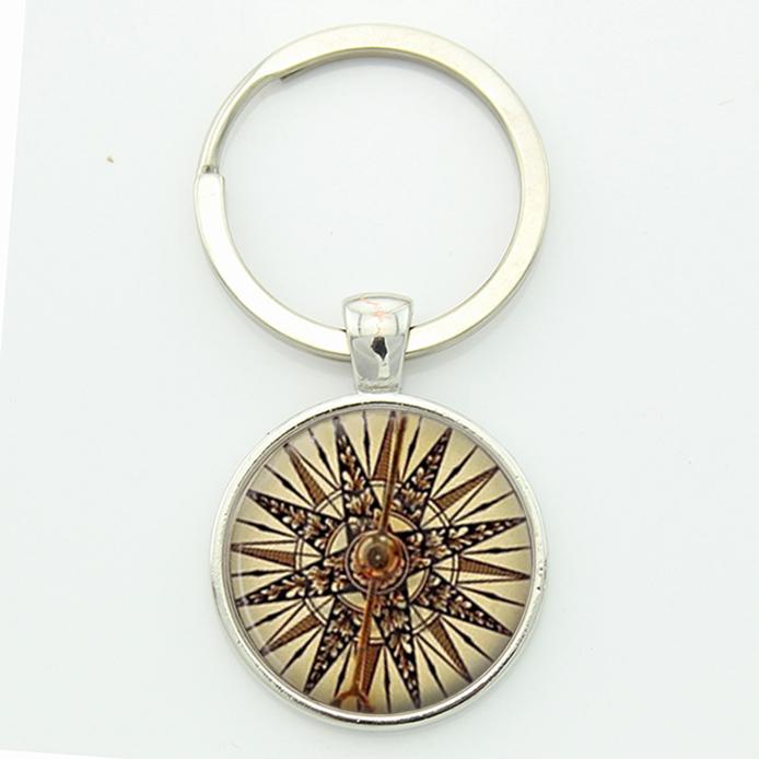 Retro nautical compass key chain old world sailing sailors special keepsake jewelry anniversary birthday gifts Keyring(China (Mainland))