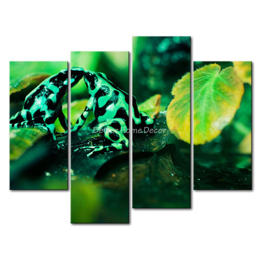 3 Piece Green Wall Art Painting Poison Dart Frogs Kissing In The Forest Picture Print On Canvas Animal 4 5 The Picture(China (Mainland))