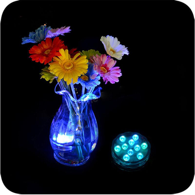 1pc 10 LED Multi Color Waterproof Vase Base Light Submersible Lamp Bright Bulb With Remote Control Romantic Home Party Decor(China (Mainland))