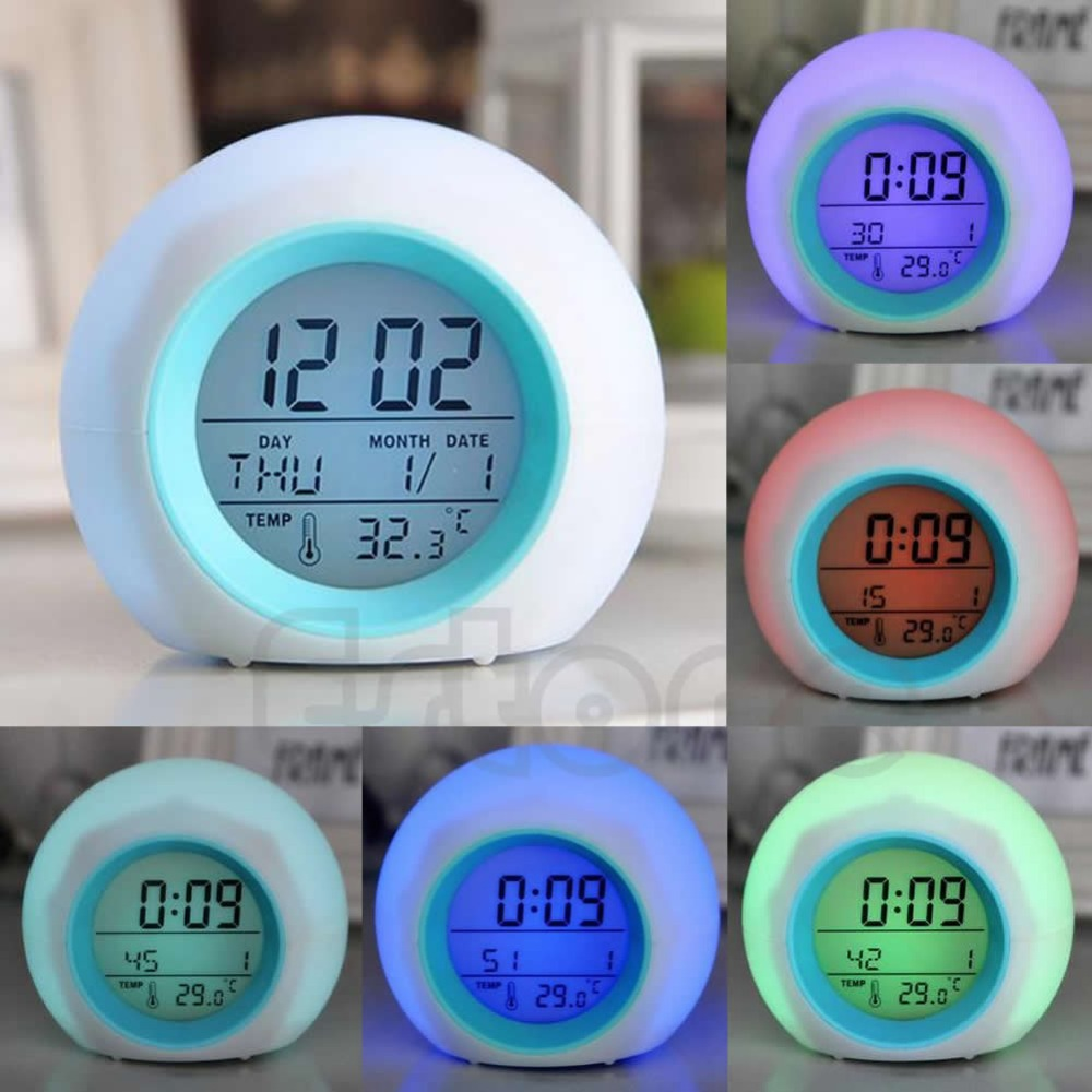 E74 New Nature Sound 7 Color Digital LED Glowing Change Thermometer Clock Alarm Hot(China (Mainland))