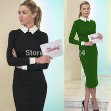 H0405 Women Dresses Patchwork Autumn Winter Hot Sale Full Sleeve Bodycon Pencil Party Cocktail Size S M L XL XXL(China (Mainland))