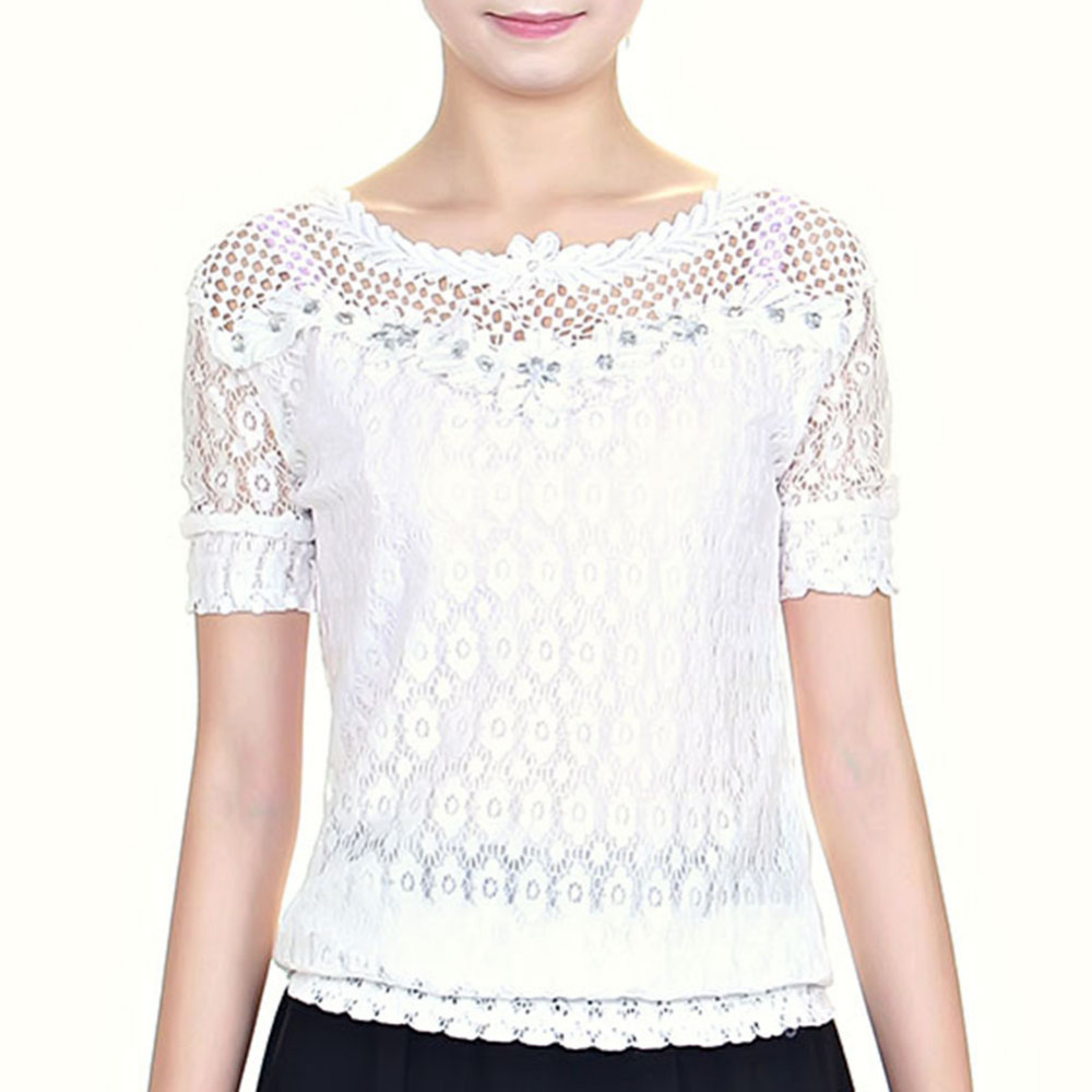 Wonderful Half Sleeve Lace Splicing Blouse WHITE ONE SIZE In Blouses