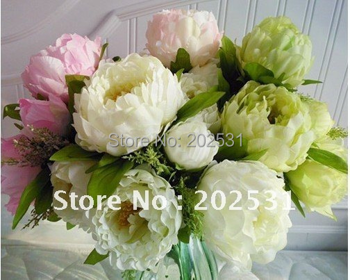 7 flower heads per bunch,Spring scenery peony,wedding/home decoration,High simulation / artificial silk flower,free shipping
