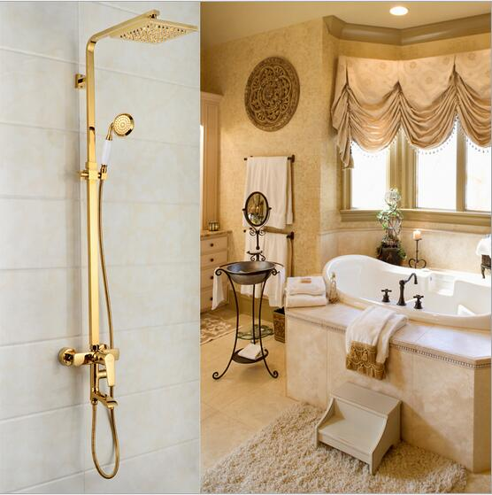 "Foyi brand Classic Wall Mounted 8"" Rain Shower & Handshower gold Shower Faucet Set Antique Brass Finished with gold shower hose(China (Mainland))"