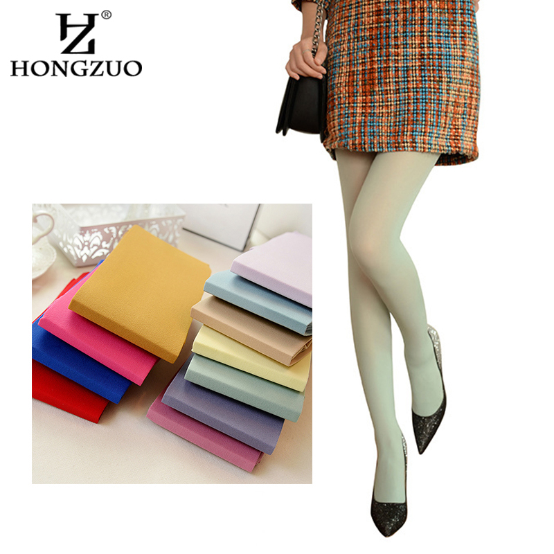 2016 New Fashion Sexy Cute 140 D Velvet Seamless Pantyhose Candy Color Tights Opaque Collant Women Stocking ST006(China (Mainland))