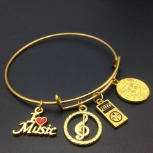 Gold Plated MP3 Player I Love Music Charm Stainless Steel Expandable Wire Bangle Musical Note Bracelet for Women & Girls(China (Mainland))