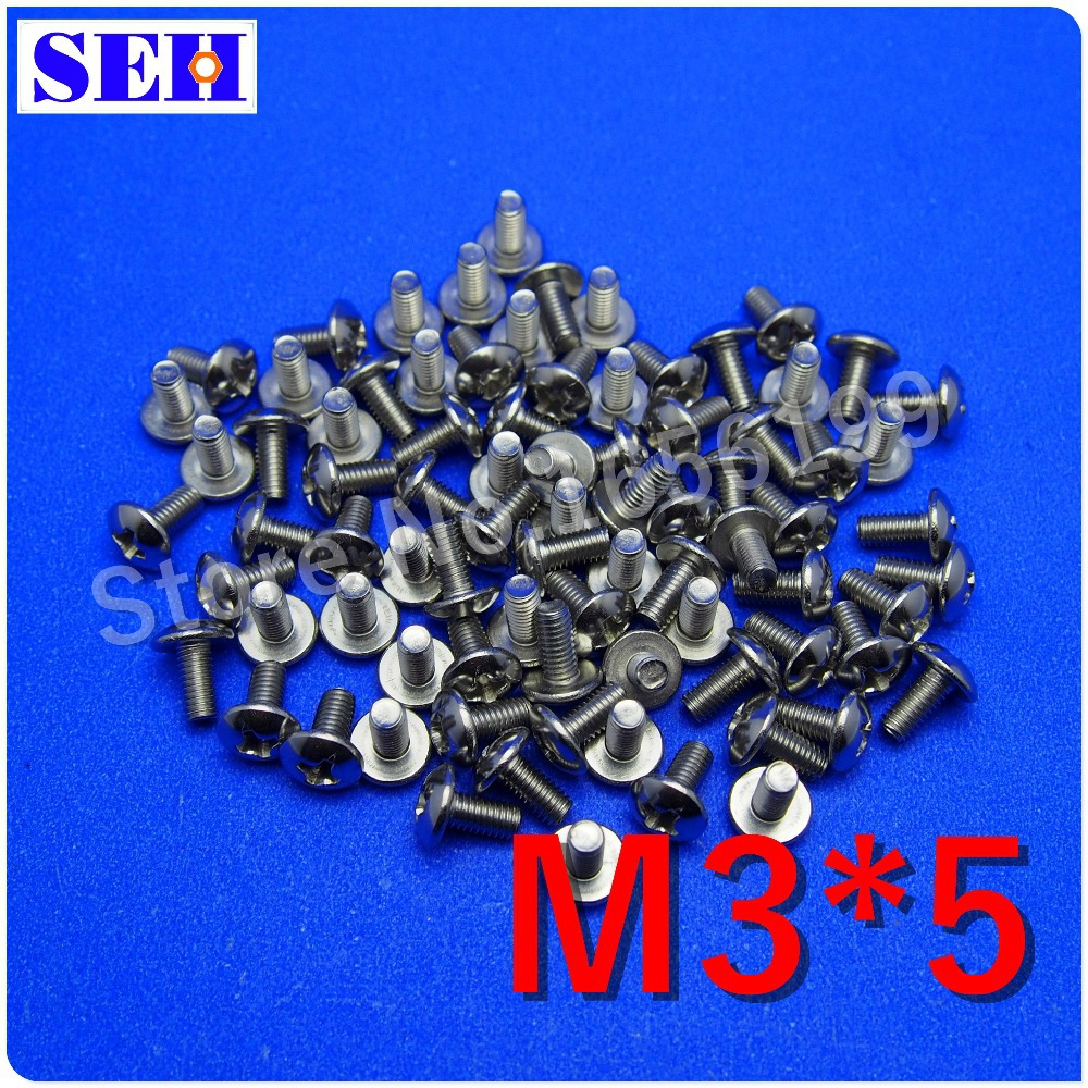 100pcs Authentic M3*5mm 304 Stainless Steel Mushroom Head Cross Country Standard Big Flat Head Bolts Screw(China (Mainland))