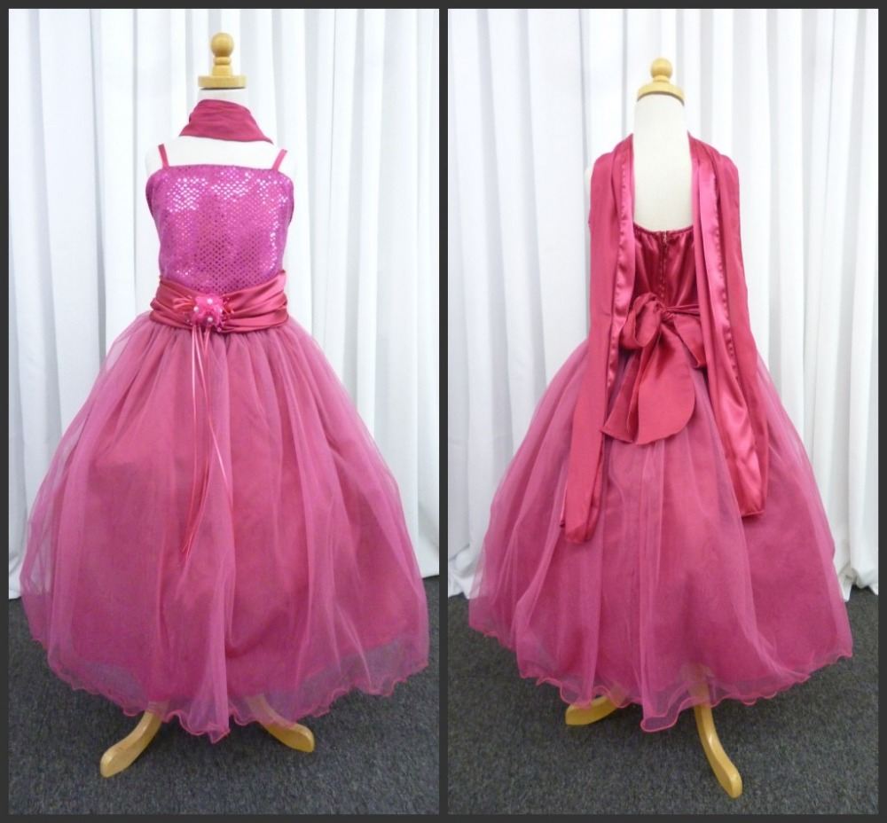Flower Girl's Dresses 2015 Spaghetti Bow Pearls Sleeveless Ankle- Length Ball Gown Kids Dresses Custom Made Cheap High Quality(China (Mainland))