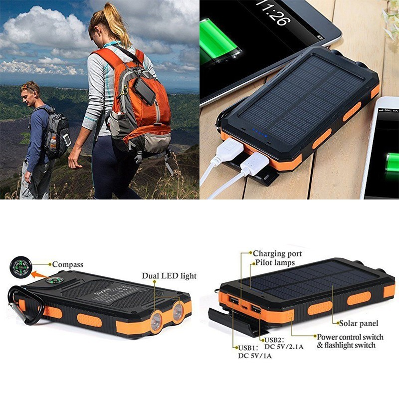 New Waterproof Fast Phone Charger Battery Solar Panel Power Bank Portable External Cellphone Battery For IPhone haiwei Xiaomi