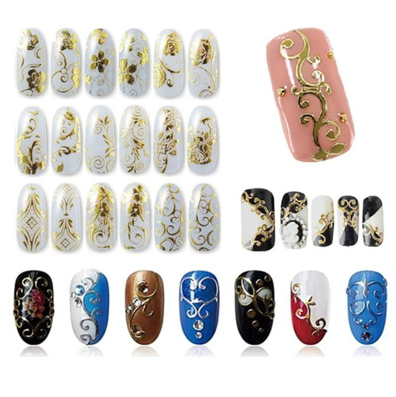 108Pcs Gold Silver 3D Nail Art Stickers Nail Decoration Design Brand Foils Beauty Stickers For Nails Accessories Decals Tools(China (Mainland))