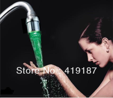 Three-color Water Stream faucet,Temperature Sensitive, LED Faucet Tap, 3 Colors LED faucet light Free Shipping~cool