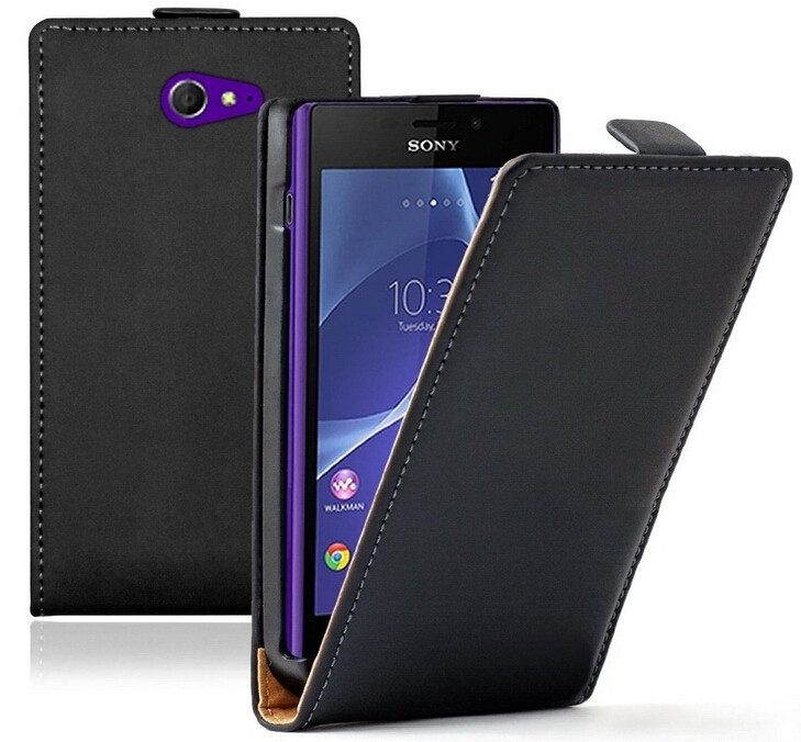 Top Quality Genuine Leather Flip Case for Sony Xperia M2 S50h Magnetic Pouch Cover Cases Free Shipping Wholesales PY(China (Mainland))