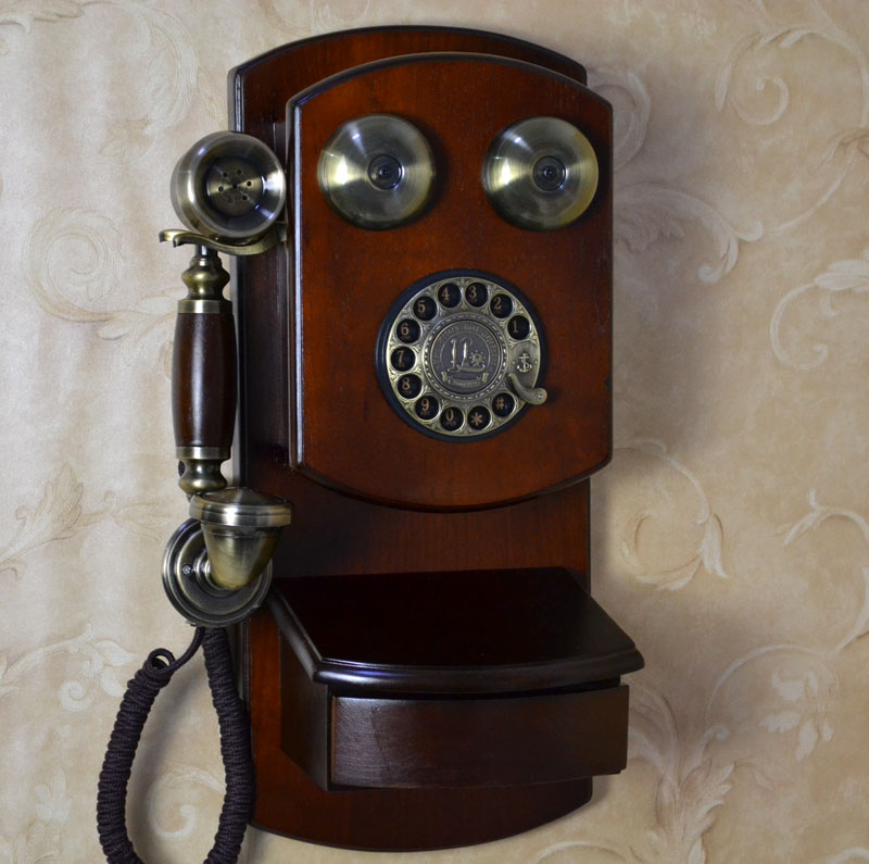 Fashion antique telephone american vintage quality wall-mounted rotating disk classical metal dial bell machinery(China (Mainland))